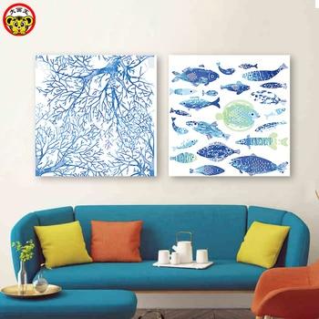Pintura por números, pintura artística por número, Diy, dibujos animados, ramas de pescado azul, pinturas coloridas, pintado decorativo a mano y pintura al óleo pai