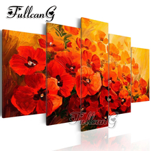 FULLCANG diy 5 pieces diamond painting blooming red flowers full square/round drill 5d cross stitch embroidery kit decor FC107