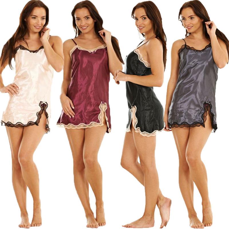 Night wear Women camisola Sexy Lingerie Silk Satin Lace night dress  Babydoll Nightdress Nightgown Sleepwear nighty chemise femme 23a48a7f1
