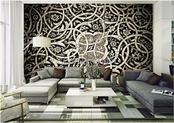 Free Shipping Custom 3d Oriental Tiles Wall Mural Modern Mural