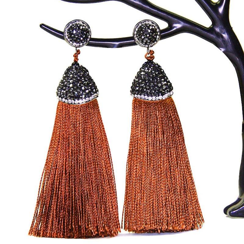 LAKONE 2018 boho Earrings Handmade Long Crystal Silk Tassel Earring For Women Wedding Dangle Drop Earrings Women Jewelry