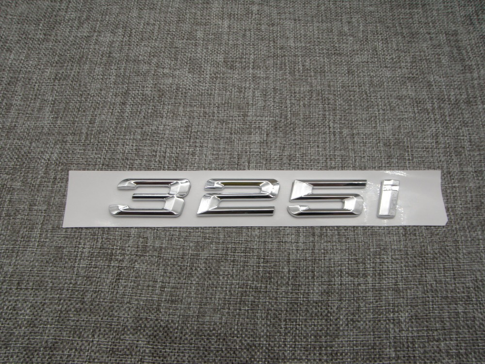 Chrome Shiny Silver ABS Number Letters Word Car Trunk Badge Emblem Letter Decal Sticker for BMW 3 Series 325i