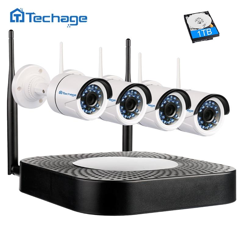 Techage Enregistrement Audio Sans Fil CCTV Système 4CH 1080 p Wifi NVR 2MP IR Nuit Extérieure de Sécurité IP Caméra P2P Vidéo kit de Surveillance