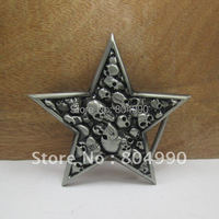 Star belt buckle with skulls with pewter finish FP-02774 brand new condition with continous stock