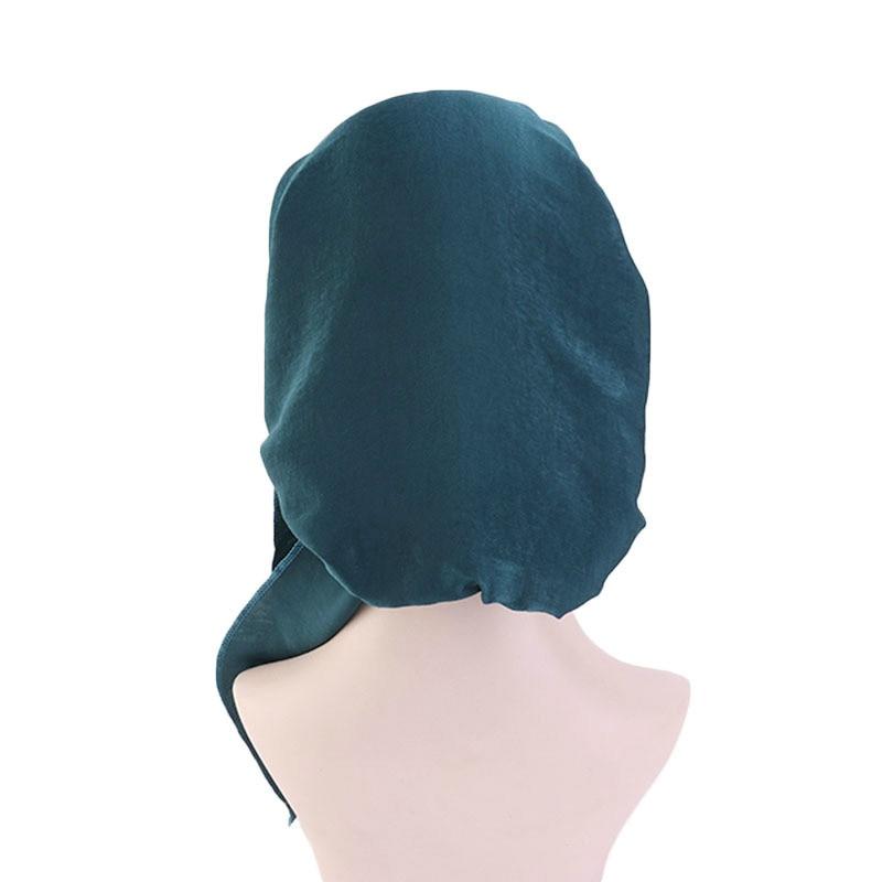 New Elastic Hairband Headscarf Hat Silk Imitation Women Turban Hat Fashion Muslim Turban Hijab Hats Indian Cap Wrap Cap 12 Color