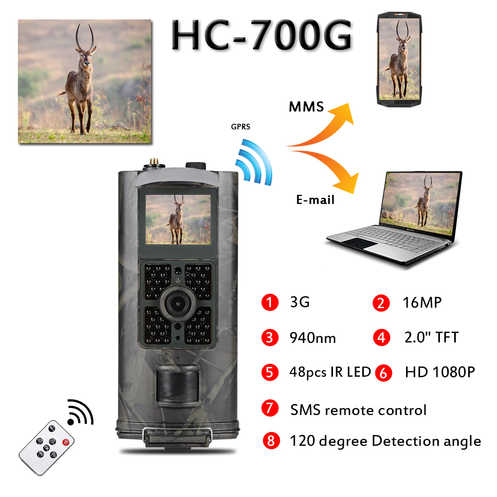 940nm 1080P Hunting Trail Camera 16MP 3G MMS SMS HC700G Infrared Night Vision Wildlife Cameras Surveillance Tracking940nm 1080P Hunting Trail Camera 16MP 3G MMS SMS HC700G Infrared Night Vision Wildlife Cameras Surveillance Tracking