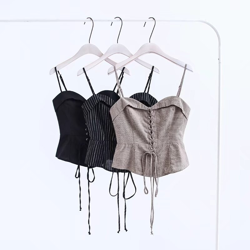 Summer Sexy Short Women Tank Top Cross Straps Crop Top Slim Sleeveless Tops Female
