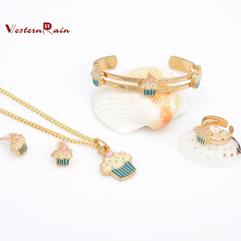 WesternRain 18K Gold Plated Baby Bracelet Necklaces Sets Children