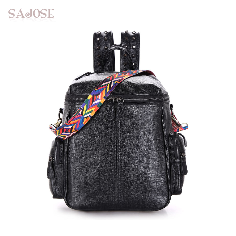 Multifunction Designer Backpacks Women Preppy Bookbags Mochilas Mujer Rivet Leather Backpack Lady Large Capacity Mochila Escolar swiss kubik шкатулка для часов swiss kubik sk04 cv003 wp