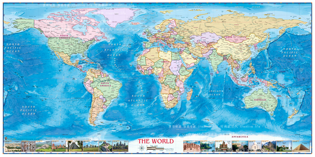 Large size plate ocean world map wall hanging frameless canvas map large size plate ocean world map wall hanging frameless canvas mappaintings for office gumiabroncs Images