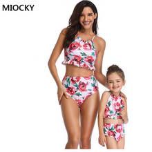 Mother Daughter Swimwear 2019 Floral Print 2pcs Set Bikini Beachwear Bathing Suit Mom and Swimsuit Family Kit E0153