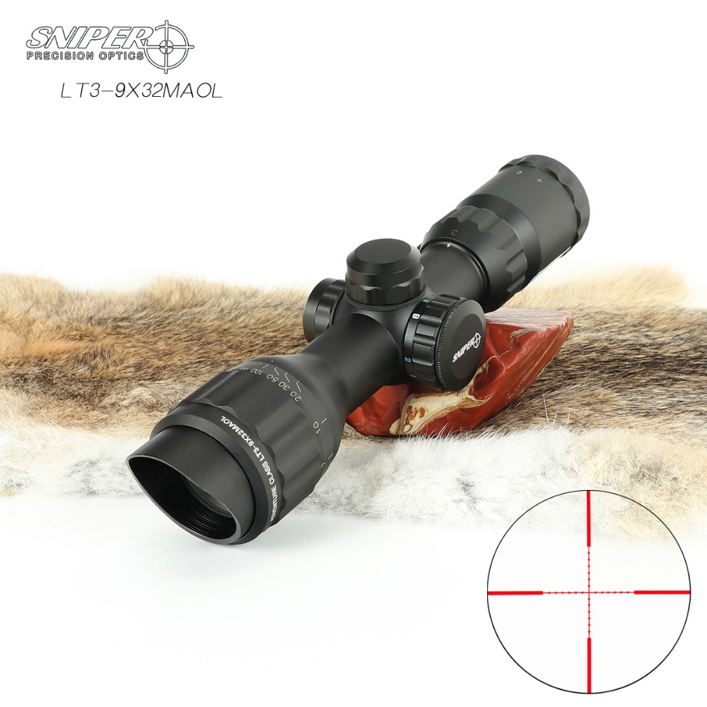 SNIPER  3-9x32 Riflescope Tactical Rifle Scope Glass Etched Reticle Hunting Optics Sight  Red Dot R/G/B  Mounts  Hunting Scope