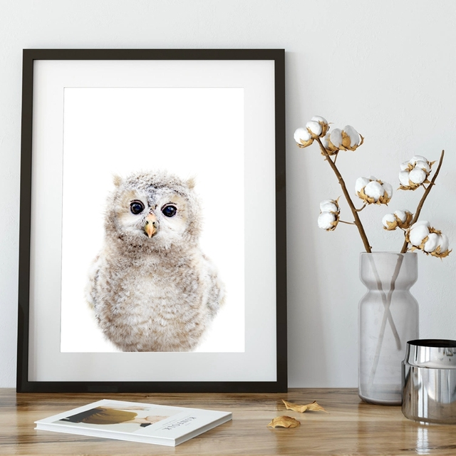 Nursery Animal Decor Baby Owl Canvas Art Print And Poster Cute Painting Wall Picture Room Kids