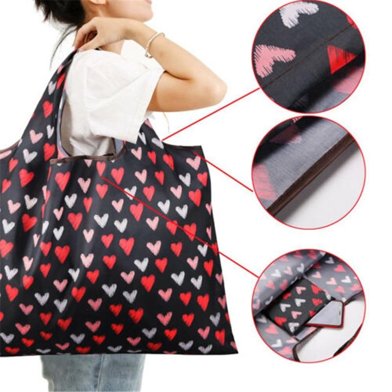 NOENNAME_NULL Eco Shopping Travel Shoulder Bag Oxford Tote Handbag Folding Reusable Cartoon KJ Handy Large Shopping Bags New