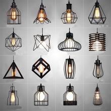 Nordic светодио дный LED открытый подвесные светильники Ретро Промышленные стиль Кофе Ресторан личность бар железной клетке книги по искусству висит л