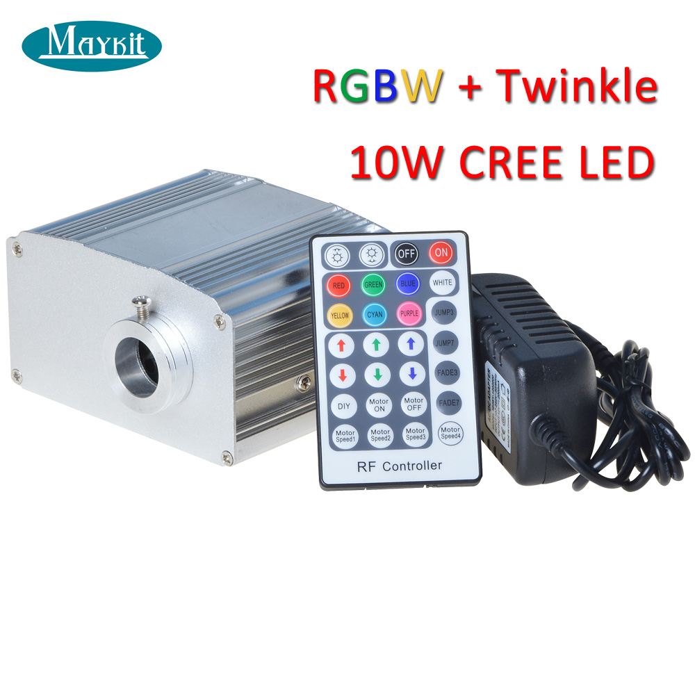 Maykit 10 Watt RGBW LED Fiber Optic Illuminator with White Twinkle Color Optic Fibre Lighting maykit swimming pool using fiber optic light with 80w led ip43 end emitted fibre optic tail for 20 sqm
