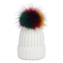 2149f9161c8 Women Autumn and Winter Hat Lady Big Real Raccoon Fur Knitted Hat Female  Colorful Ball Protect Ear Bomber Hat Macka Oxota Sitka