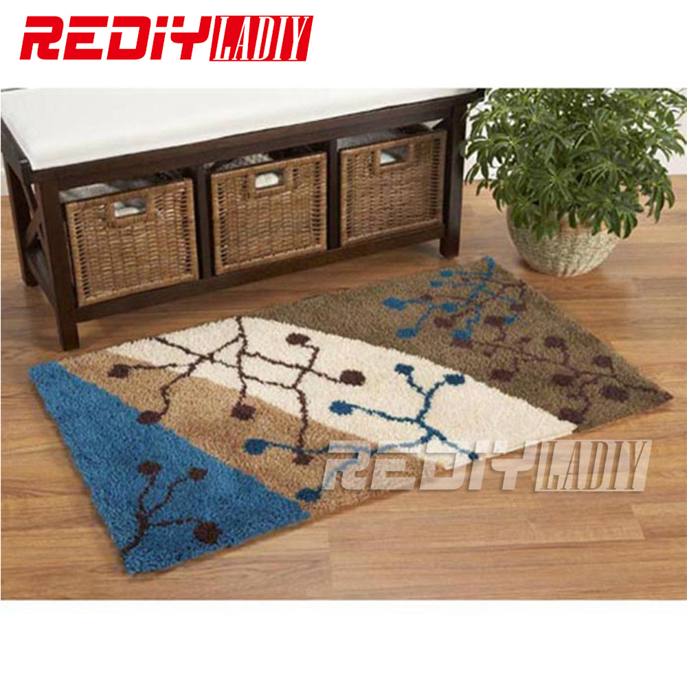 REDIY LADIY Latch Hook Rug Floor Mat Wall Tapestry Love in Winter Pre-Printed Canvas Yarn Embroidery Unfinished Carpet 85x60cm