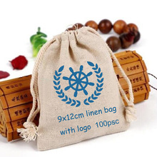 """100 Personalized Logo Linen bag 9x12cm (3 4/8"""" x 4 6/8"""") Print buyer design or company Store Name Jute Gift Pouch"""