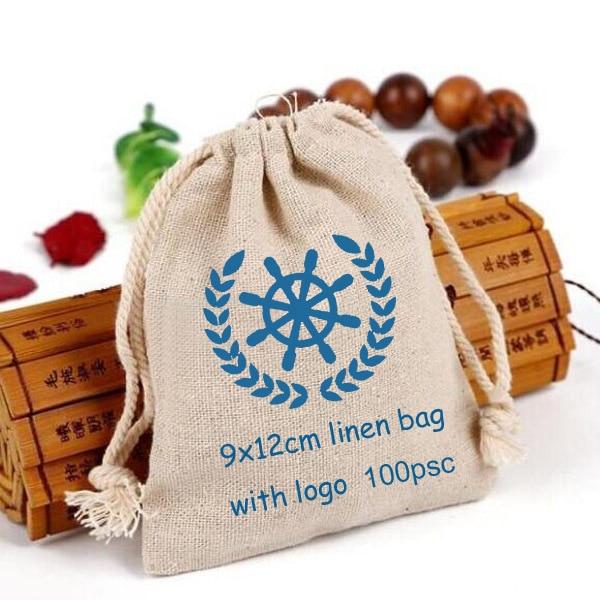 """100 kişiselleştirilmiş Logo keten çanta 9x12cm (3 4/8 """"x 4 6/8"""") baskı alıcı tasarım veya şirket mağaza adı jüt hediye kesesi"""