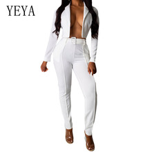YEYA Autumn Long Sleeve Casual Two Piece Set Jumpsuits Women Sexy Hollow Out Bodycon Bandage Playsuits Femme Party Overalls