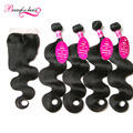 7A Unprocessed Peruvian Virgin Hair Body Wave With Closure 4 Bundles Peruvian Body Wave With Lace Closure Wavy Hair With Closure