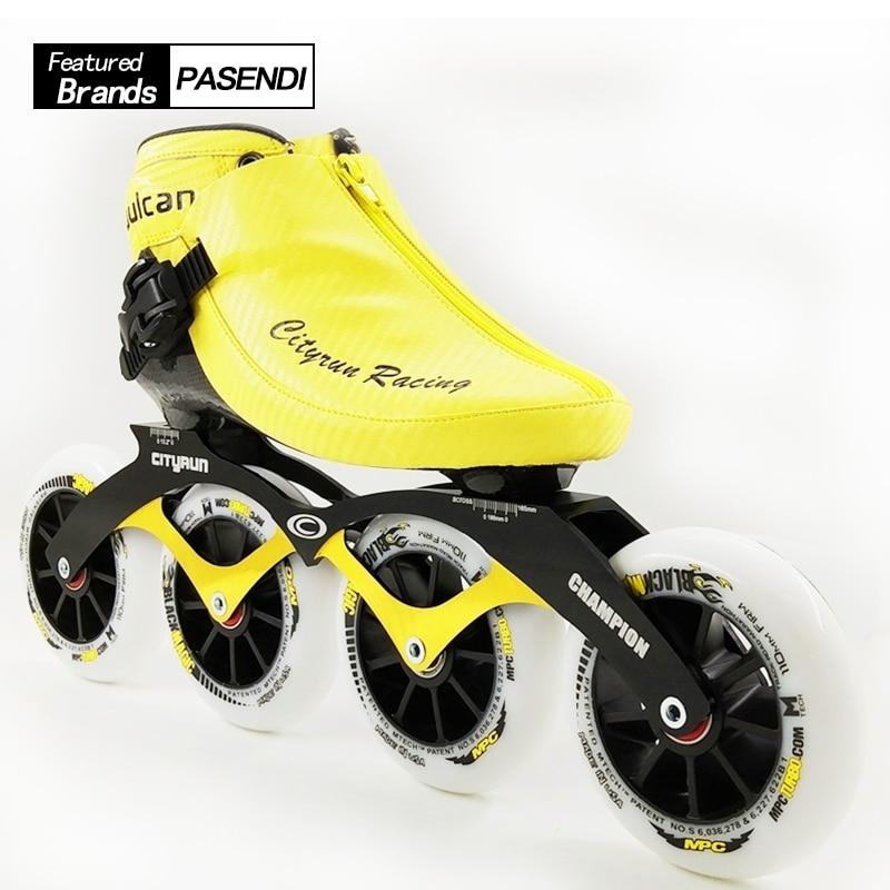 Chaussures de patin de vitesse professionnel nouveauté Roller hommes/femmes patins à roues alignées 4 roues adultes/enfants