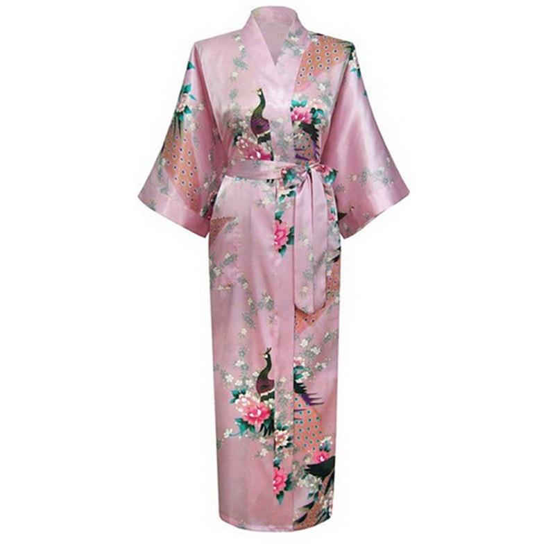 Pink Chinese Women Silk Long Robe Nightgown V-Neck Kimono Bath Gown Sexy Lingerie Sleepwear Pijamas Mujer Plus Size XXXL BR040