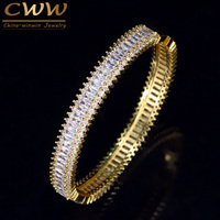 CWWZircons Top Quality AAA Cubic Zirconia Stones Light Yellow Gold Color Bridal Wedding Bangle Bracelet For