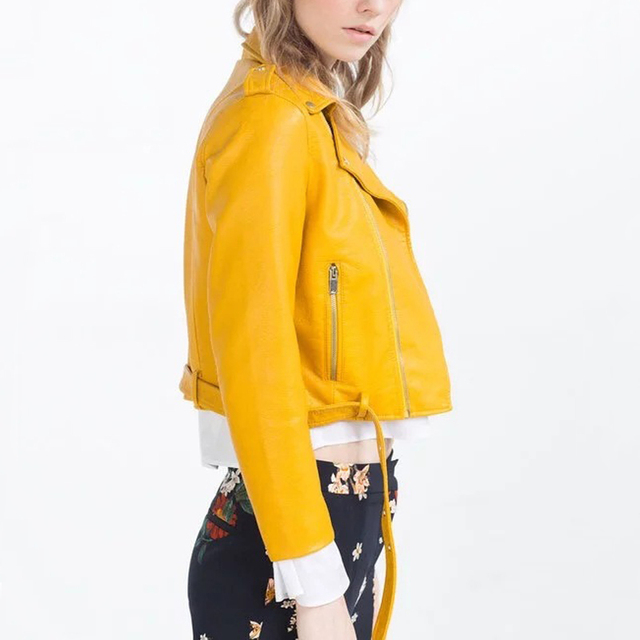 Basic Women PU Leather Jacket Coat Pink Yellow Blue Black Short ...