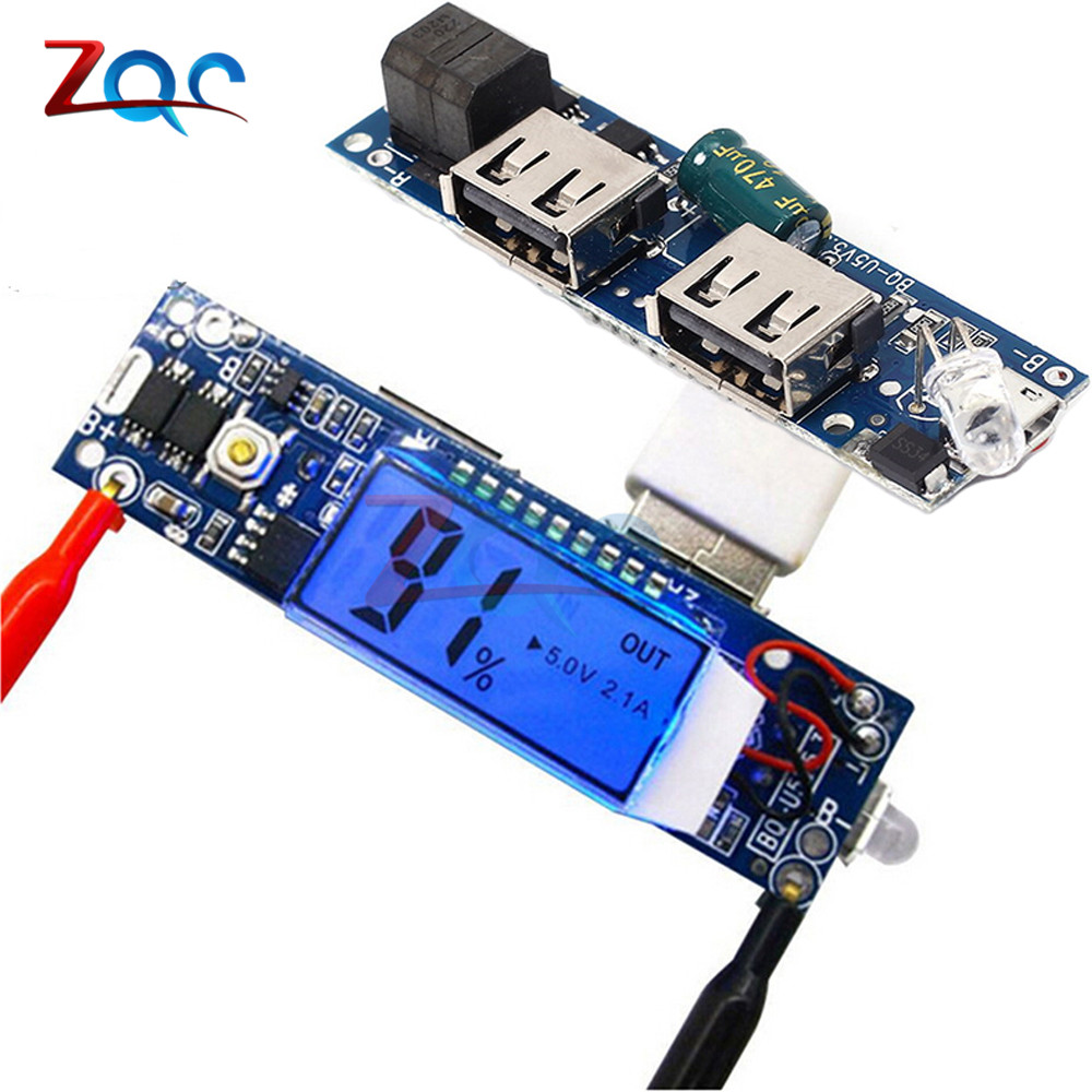 5V 2.1A 1A 2A Mobile Power Bank Charger Module LCD Display 18650 Lithium Battery Charging Board Double USB For iPhone/Android usb 5v 2a mobile phone power bank charger pcb board module for 18650 battery z17 drop ship