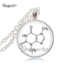 Silver Chain Chemistry THC Molecule Pendant Necklace Women Fashion Glass Dome Pot Jewelry Gift For Chemistry Biology Students