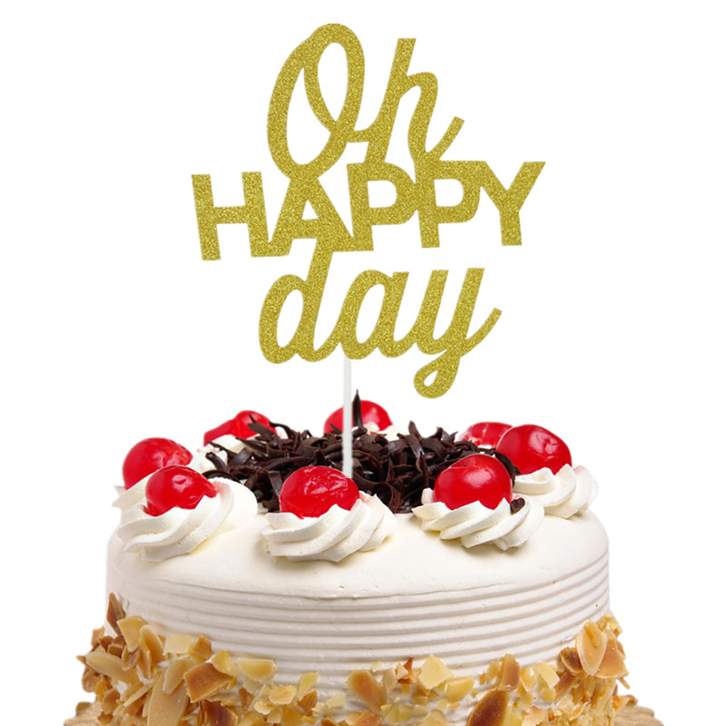 Oh Happy Day Cake Topper Cupcakes flags Bridal Shower Glitter Shiny ...