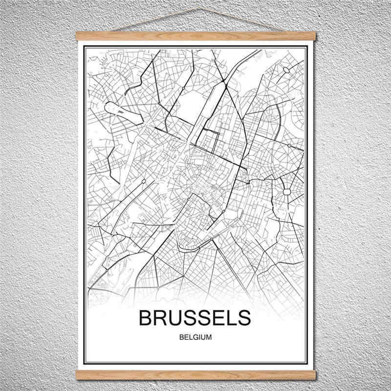 Customized Pattern BRUSSELS Modern poster World City map Oil Painting Canvas Abstract Cafe With Frame Home Decor print picture