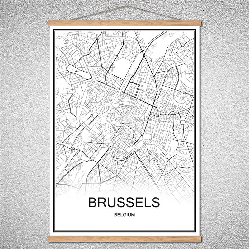 US $4.99 |Customized Pattern BRUSSELS Modern poster World City map Oil  Painting Canvas Abstract Cafe With Frame Home Decor print picture-in Wall  ...
