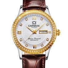 Роскошные Водонепроницаемые часы мужчины Сапфировое стекло кожаный ремешок Дата Неделя автомат часы relogio masculino