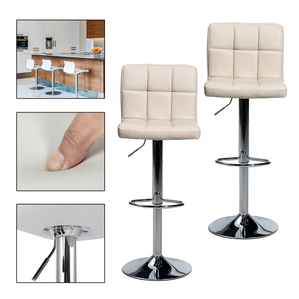 2pcs Beige Modern Bar Stools Kitchen Breakfast Bar Chairs Stools Adjustable Swivel Gas Lift Counter Kitchen Home Bar Chair Stool wooden round high bar stools home bar chairs coffee mobile phone stool bar stools