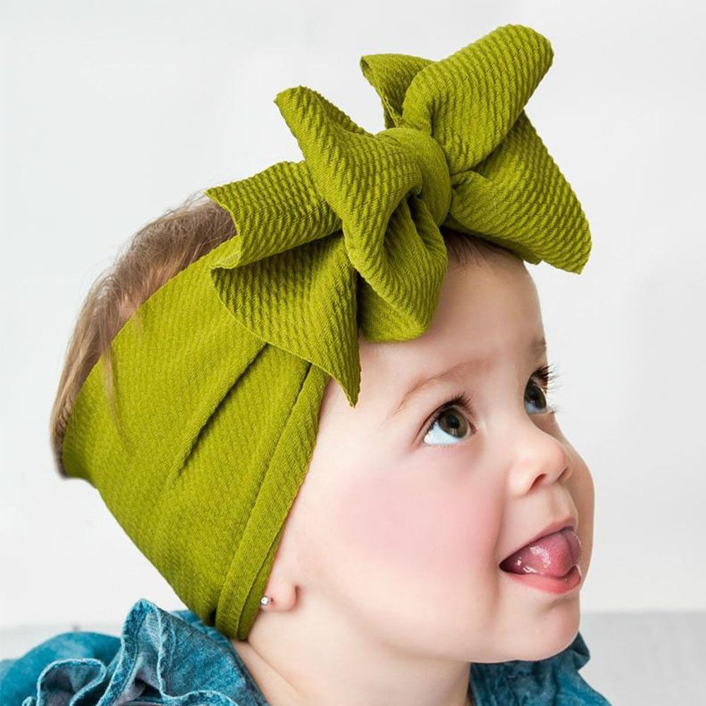 Solid Double Layer Leather Bow Headband Soft Elastic Hair Band Baby Headwear