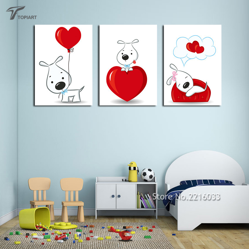 Buy 3 Pieces Wall Decor Pictures Cute Cartoon Dogs Paintings Children Kids