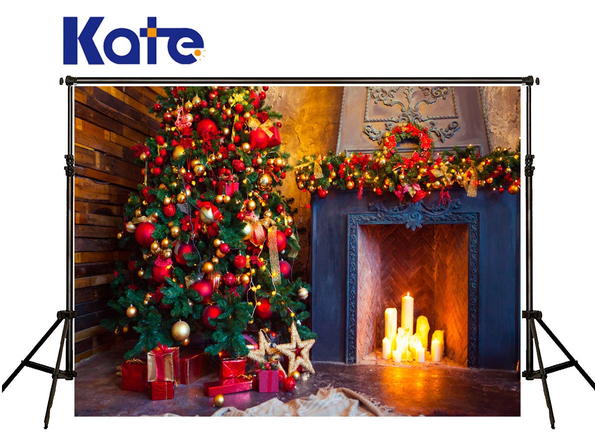 Kate Christmas Photo Backdrops Fireplace Stove Candle Photography Backdrop Tree Gold Star Backgrounds Photography Studio сумка kate spade new york wkru2816 kate spade hanna