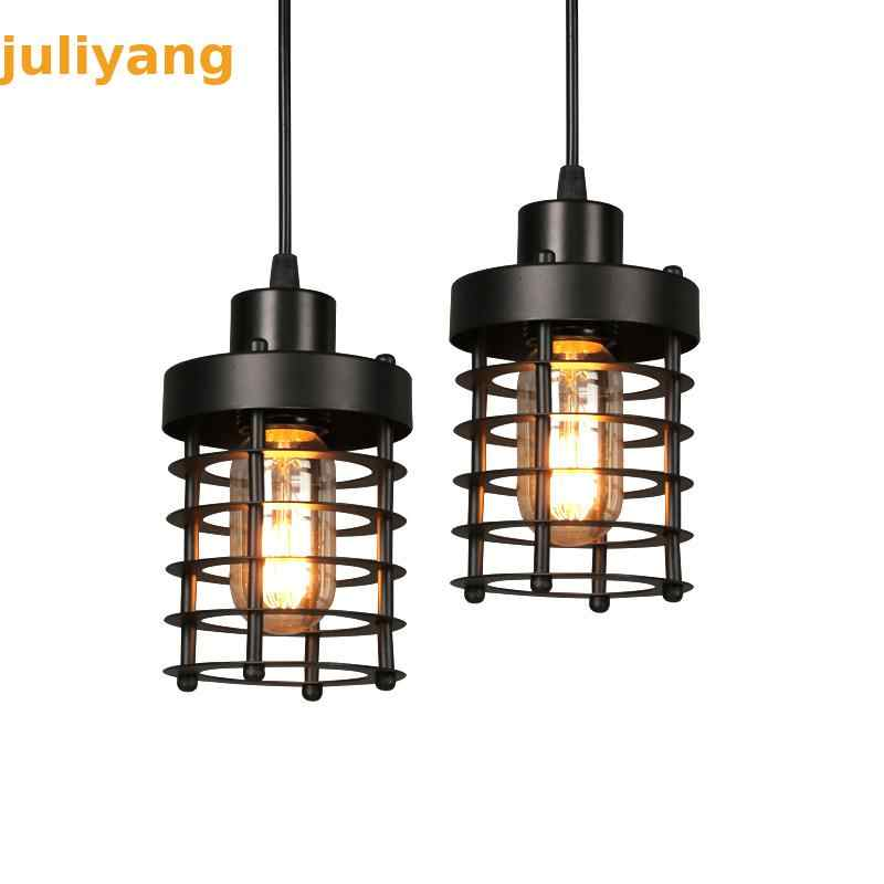 American style single-headed iron bar restaurant creative retro bedroom staircase industrial circle Edison Chandeliers