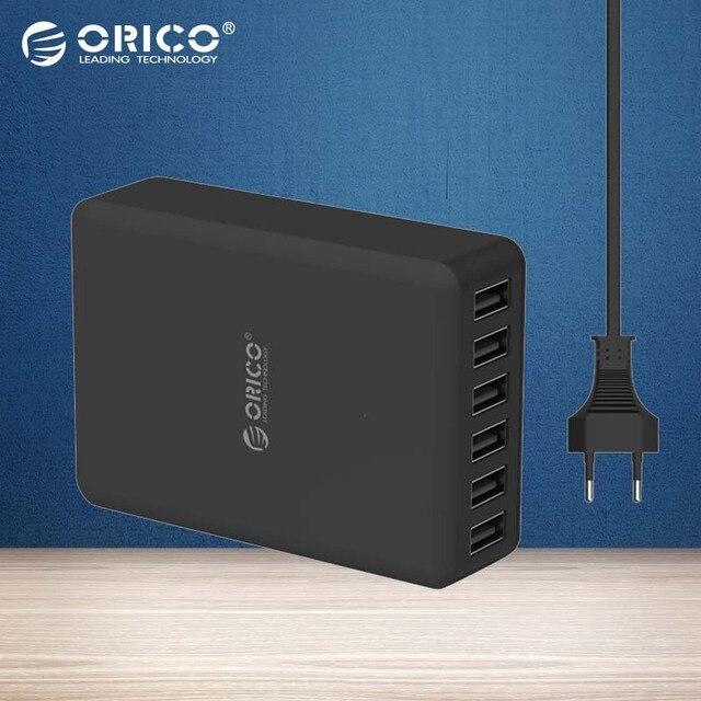ORICO DCAP-6S 5V2. 4A ЕС США ВЕЛИКОБРИТАНИЯ Plug Зарядное Устройство Адаптер 10A50W 6 Порта USB Зарядное Устройство-Черный