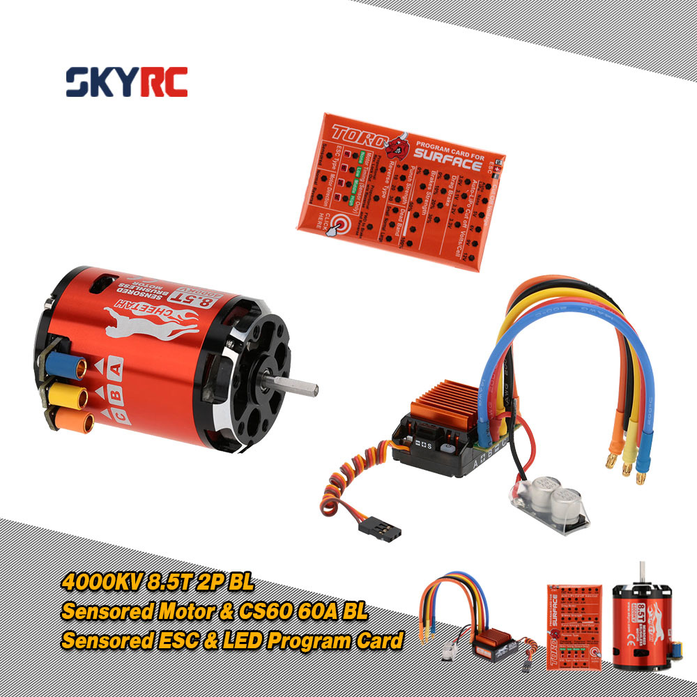 SkyRC 4000KV 8.5T 2P & CS60 60A Brushless Sensored Motor & ESC & LED Program Card Combo Set for 1/10 1/12 Buggy Touring Car цены онлайн