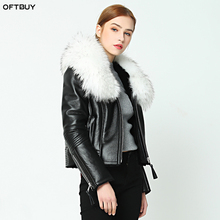 OFTBUY 2020 new Winter jacket coat women Real Sheep skin Leather jacket Double faced Fur With Raccoon Dog Fur Collar Wool Liner