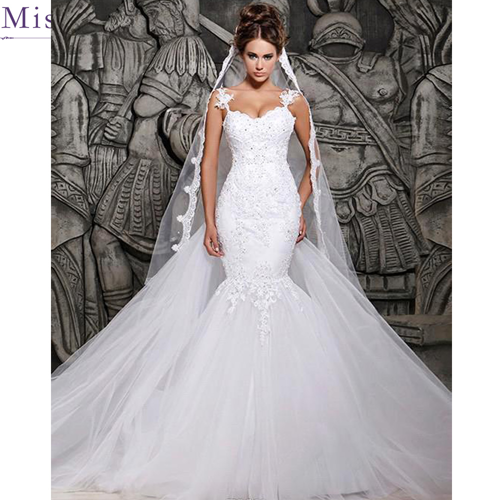 Mermaid Lace Wedding Gown: Luxury Robe De Mariage Applique Long Mermaid Wedding Dress