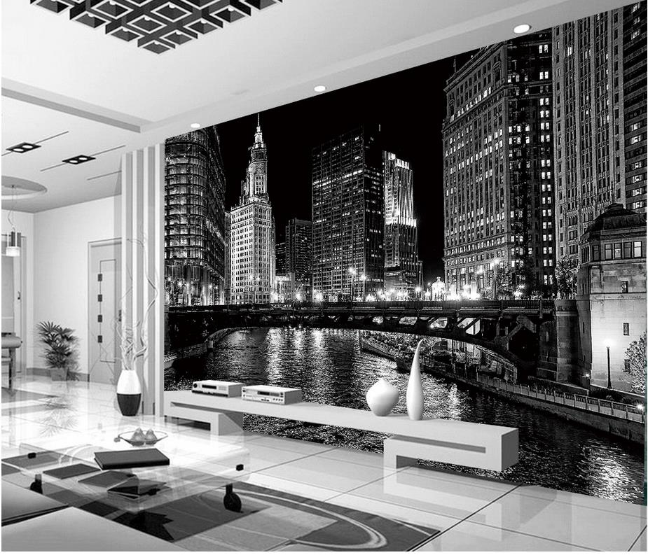 Home decoration window mural wallpaper black and white for Decoration murale ville