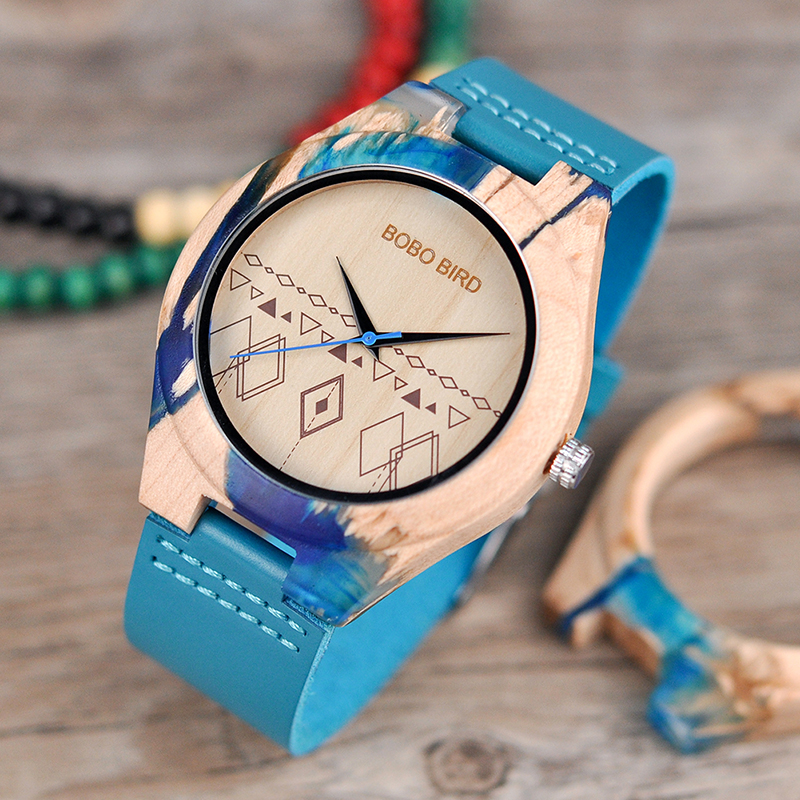 BOBO BIRD Special Design Resin and Wood Case Quartz Watch