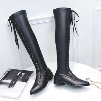 NAYIDUYUN    Thigh High Boots Women Black Cow Leather Lace Up Knee High Riding Booties Low Heel Tall Shaft Punk Sneaker Oxfords