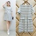 Корейский полосатый платье юбка летом длинные беременных женщин материнства платье длинные юбки