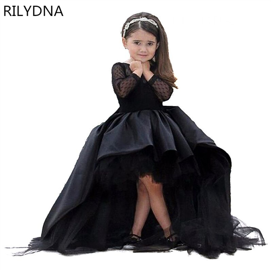 Black Flower Girl Dresses High Low Scoop Long Sleeves Floor Length Satin Tulle Ball Gown Kids